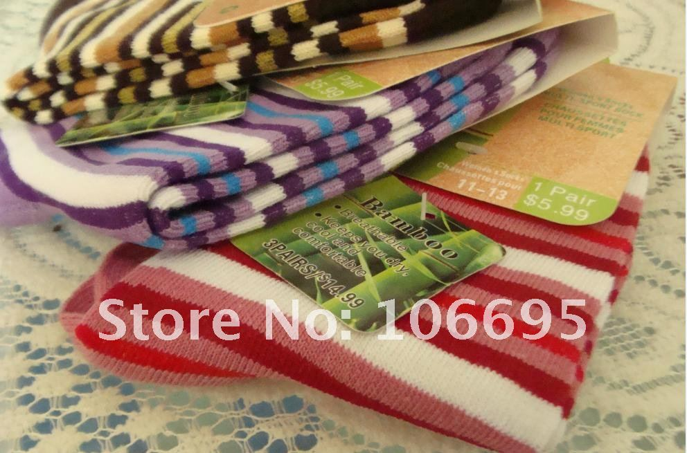 Free shipping Bamboo fiber women's socks striped color mix 10 pairs / lot