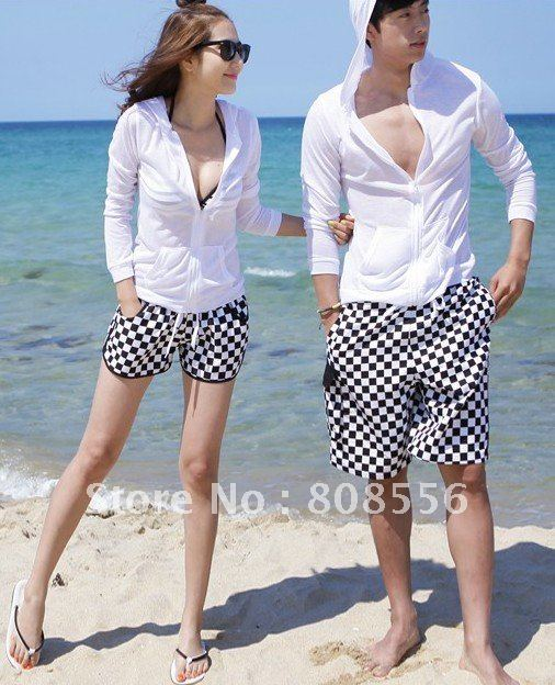 Free Shipping black and white lattice couple beach pants women/men beach style lovers trusers
