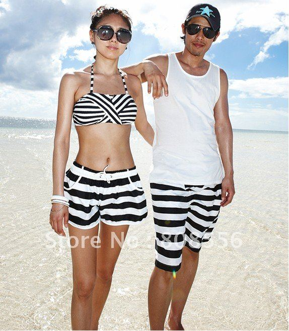 Free Shipping black and white stripe couple beach pants women/men  trousers style lovers in stock