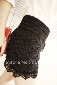 Free shipping.Black/Beige.Multi-layer lace hollow crochet shorts, solid color sexy safety pants-third of the base skirt pants