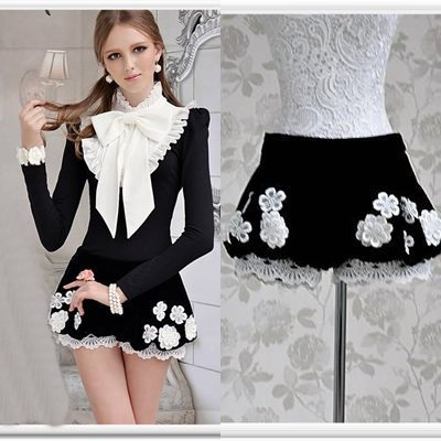 Free shipping black lace patchwork low waist embroidery ladies casual pantskirt dressy shorts  new fashion