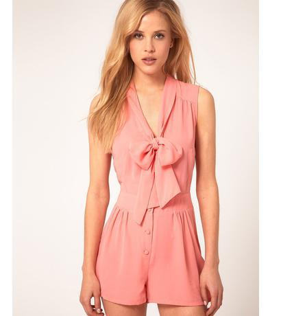 Free shipping Bow tie collar high waist sleeveless solid color chiffon jumpsuit skirt 3 color XS-XXL#Y409