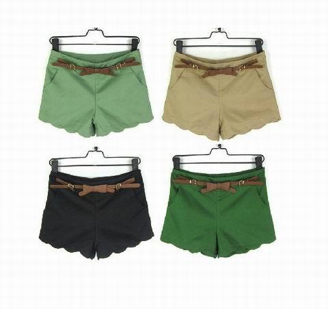 Free Shipping Brand New Spring Summer Fashion Women Shorts Casual Pants Trousers With Bow Belt