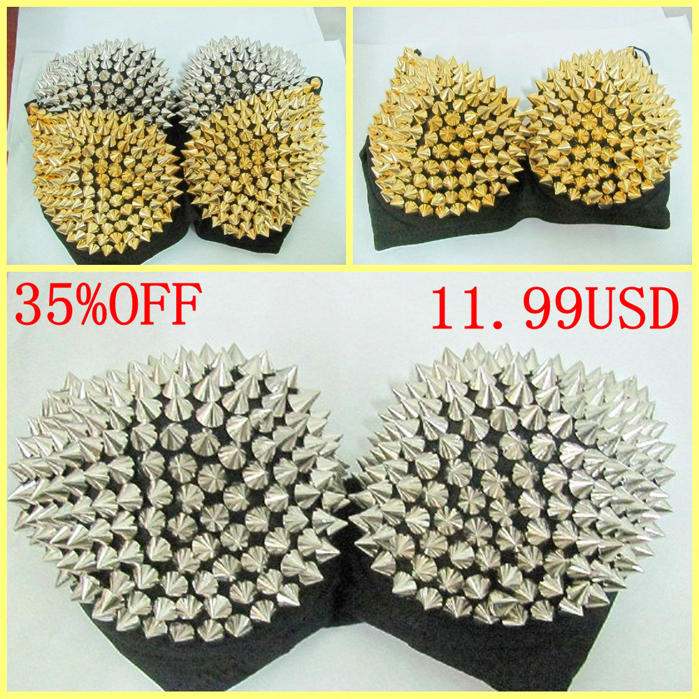 FREE SHIPPING Bras Women Party Disco All-over Spike Stud Pattern Bra Sexy Bras for women  Best Quality