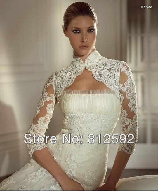 Free shipping! Bridal 3/4 sleeves white/ivory lace wedding bolero wedding jacket accessories wholesale/retail