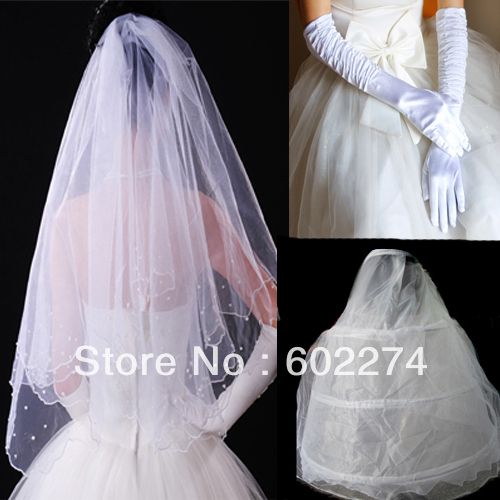 Free Shipping Bridal Veil Gloves and Petticoat Accessories
