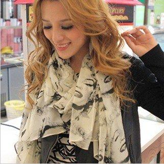 Free shipping Bright color Beauty Marilyn Monroe Chiffon scarf#C0051