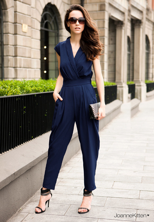 Free shipping British style fashion nip-waisted jumpsuits for ladies C596