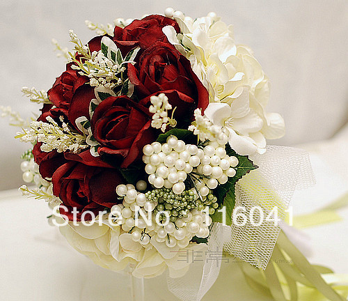 Free Shipping Burgundy red rose ivory flower with ribbon Wedding bridal throw bouquet Bridal Bouquet Bridesmaid Flowers