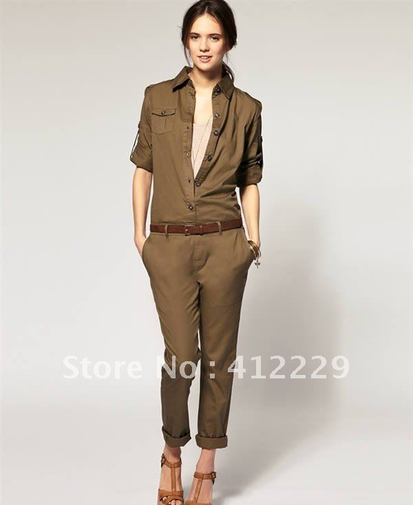 Free shipping button placket badges decorative pockets belt cotton solid Jumpsuits & Rompers 2012 new fashion
