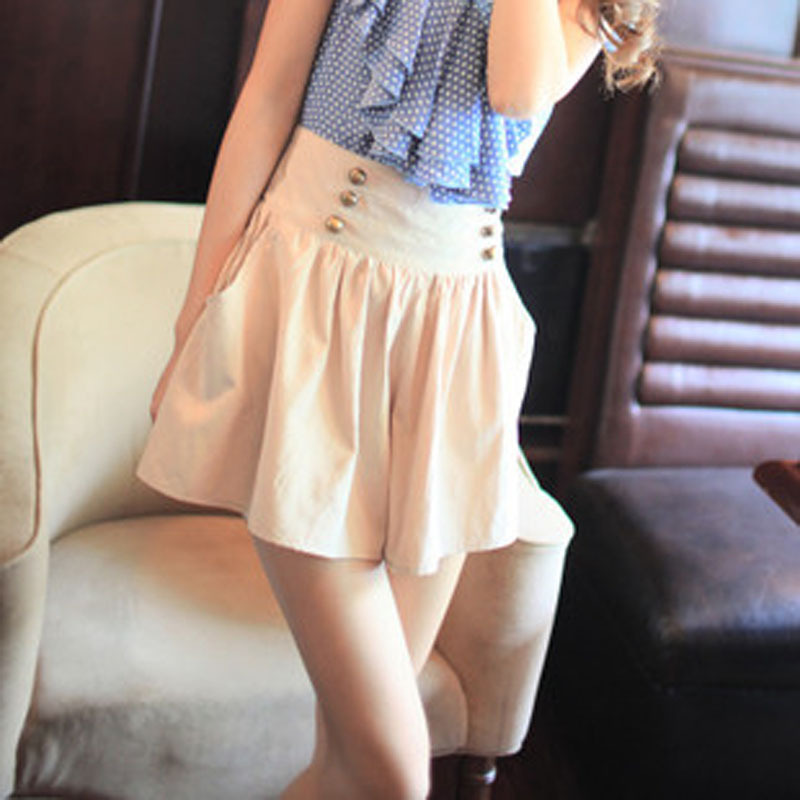 Free Shipping Casual Korean Style 2013 New In Summer Women's Short Pantskirts All Match Vintage Double Breasted High Waist Short