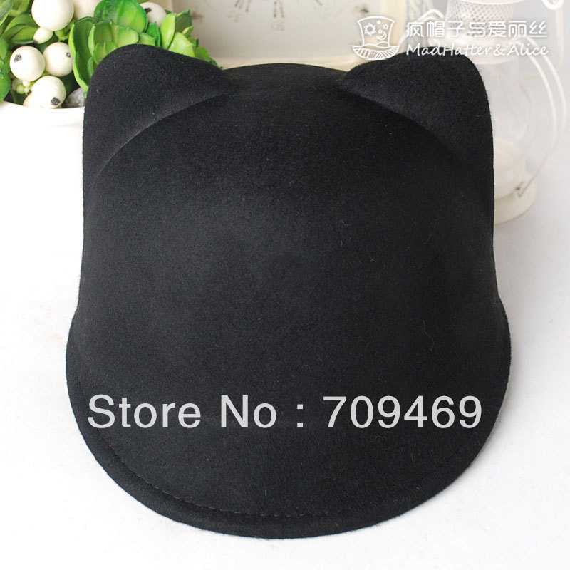 Free shipping Cat ears pure woolen hats female autumn and winter for women or men