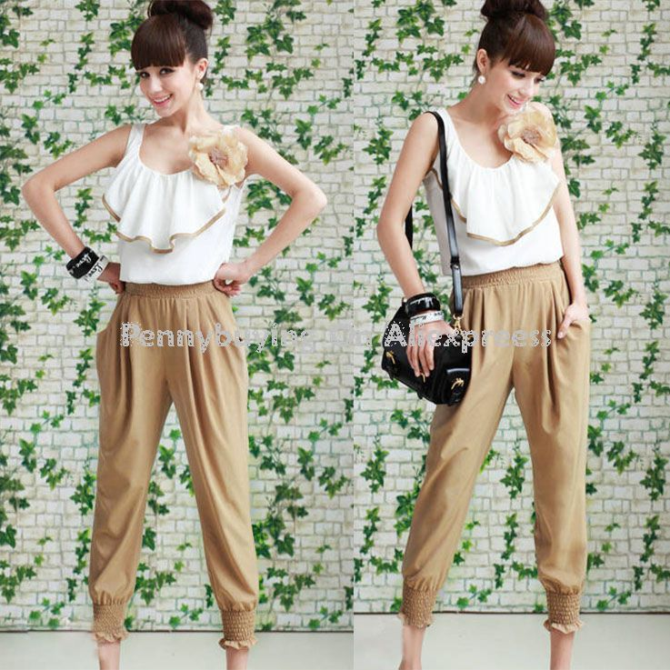 Free Shipping CC307# Woman Strap Long Jumpsuits OL Lady Sleeveless Loose Pants Lace Vest Overall Women Chiffon Casual Rompers