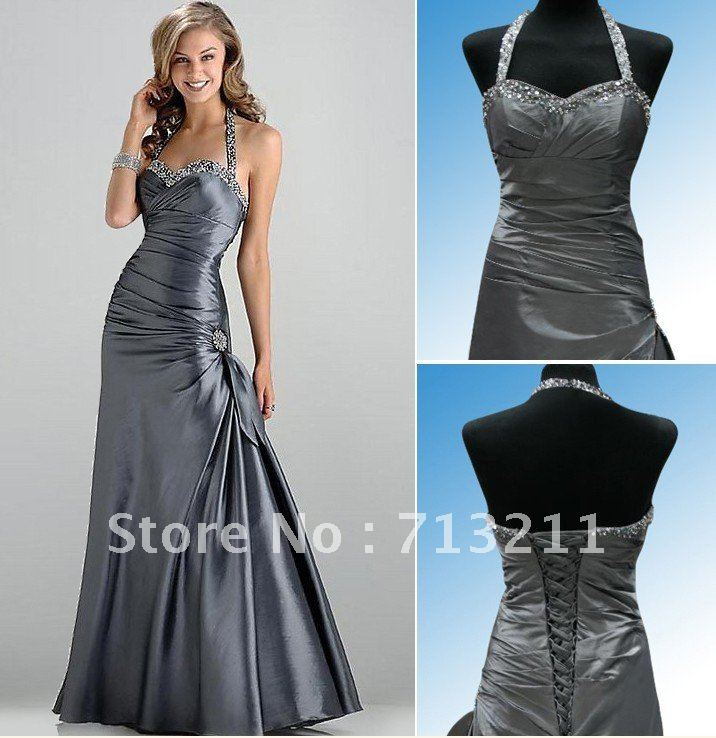 Free Shipping Charcoal Halter Taffeta Ball/Formal/Evening gown/Party/Prom dress