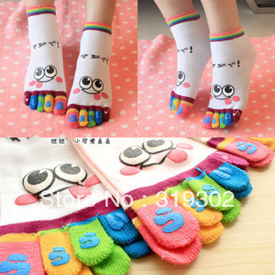 Free Shipping CHEAPEST Five fingers cartoon toe socks women's stockings anti-barbiers socks novelty socks promotion gift