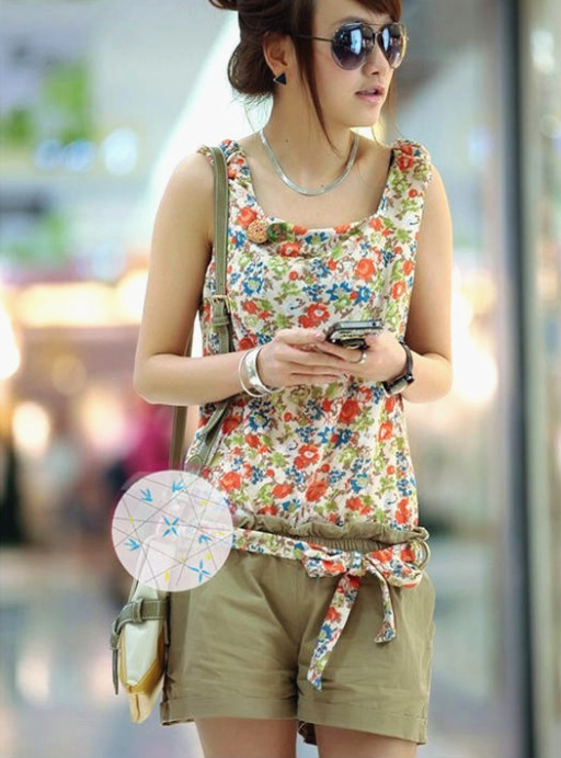 Free Shipping Chic Calico Flower Lace-up Waist Sleeveless Zipper Back Short Jumpsuits Khaki