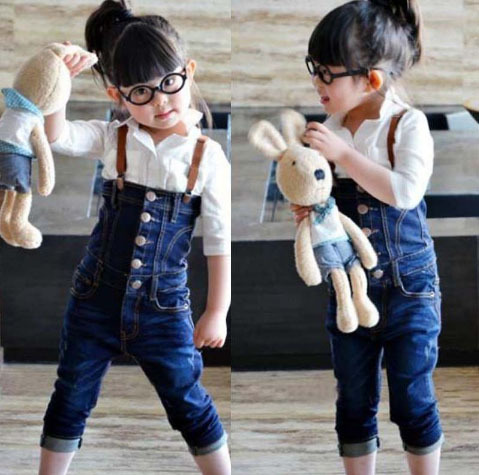 Free Shipping! children girls jeans jumpsuits fashion denim overalls pants children bib pants summer clothing Retail