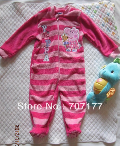 Free shipping  children kids girl clothing peppa pig pajamas sleepwear Romper  pyjamas rompers pink stripe
