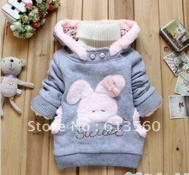 Free Shipping  Children's clothing 2013 new cartoon little bunny fleece girls hedging coat  ok307