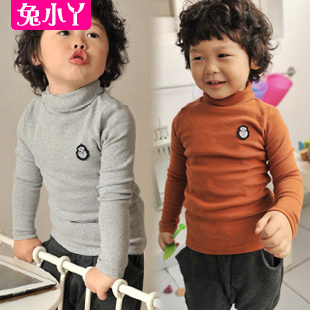 free shipping Children's Undershirt baby clothing autumn winter thick turtleneck basic shirt 10 colors