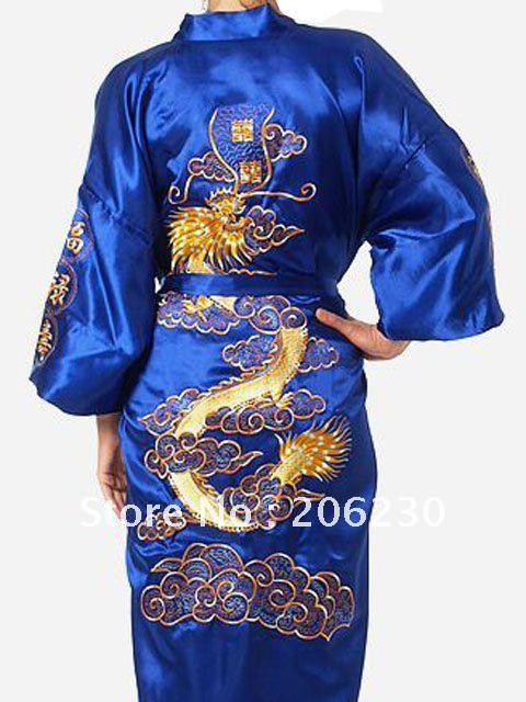 Free shipping!Chinese style women's Silk dragon bathrobe robe gown sleepwear,1pcs blue