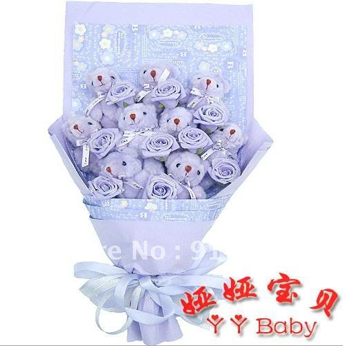 Free shipping Christmas gift artificial bouquet 9 tactic bears 9 Golden Rose of cartoon bouquet dried flowers X655