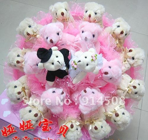 Free shipping Christmas gift artificial bouquet The 20 bears cartoon bouquet dried flowers Valentine's Day Gift X654