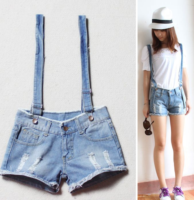Free Shipping Classic Blue Denim shorts For Women With Braces KL0017
