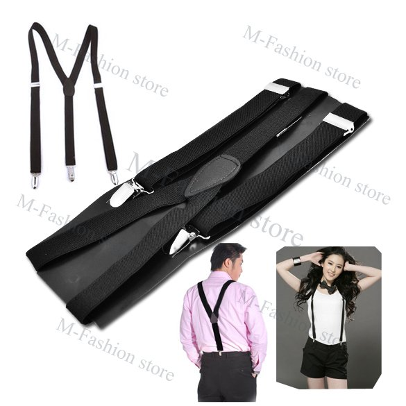 Free Shipping Clip-on Adjustable Unisex Pants Y-back Suspender Braces Black Elastic1460