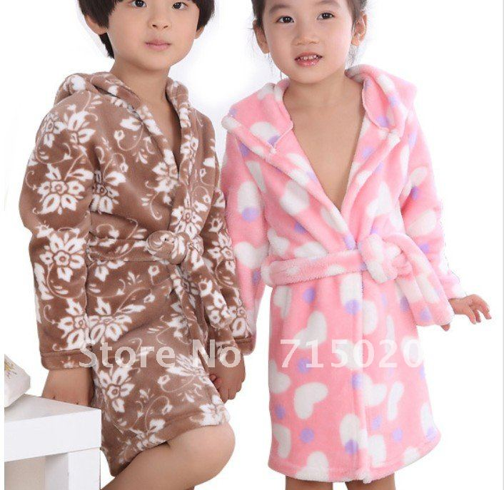 Free Shipping Coral fleece children gown thick 4 designs optional home suit pajamas bathrobe Blanket Sleepers