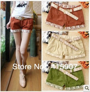 Free shipping!Corea Fashion Lace flanging leisure shorts five color Four size
