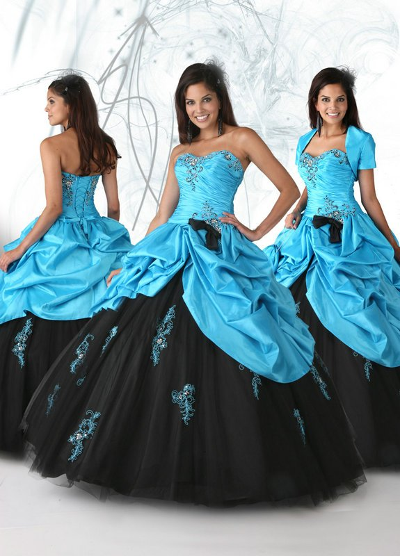 Free shipping cost fabulous strapless black and blue quinceanera dresses