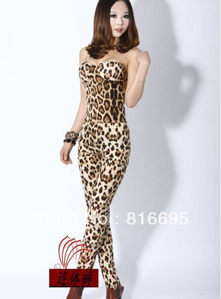 free shipping   Cotton blends tight leopard sexy fashion piece pants / jumpsuit