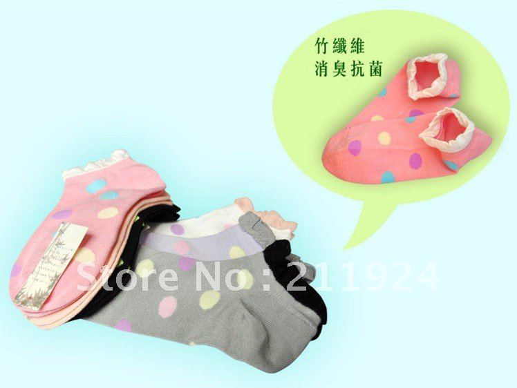 Free shipping cotton socks big dot wave border invisible Sock Slippers -6 without trademark