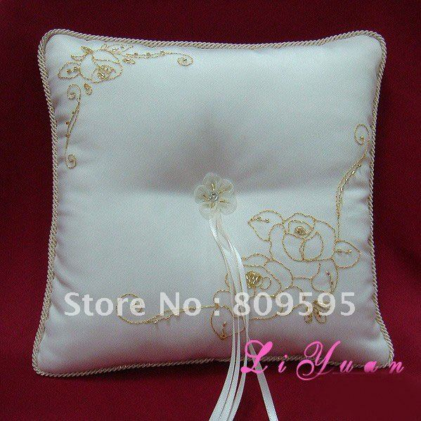 Free shipping , Cream Satin Wedding Ring Cushion/Bridal Pillow