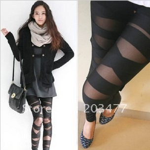 Free Shipping Cross straps legging gauze ankle silk length trousers patchwork stockings retail&wholesale