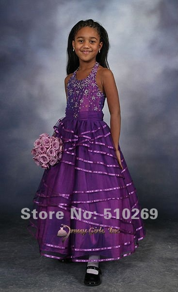 Free Shipping Custom-made Sequined Ruffled Halter Backless Sleeveless Organza Flower Girl Dress / Child Dress