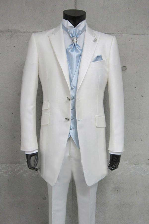 free shipping custom made wedding groom suit  white silk wool bright long tuxedos