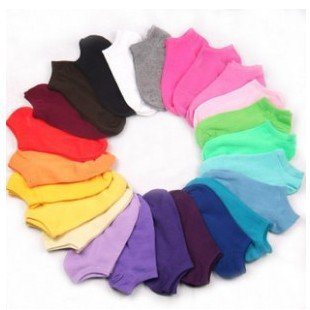 free shipping Cute candy colored cotton socks ship socks solid floor socks 10 pairs