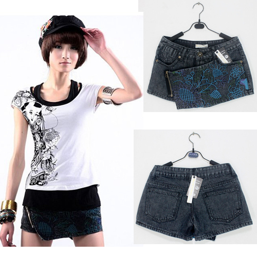 Free shipping Delicate vines embroidered oblique zipper culottes denim shorts 9873 MYYH