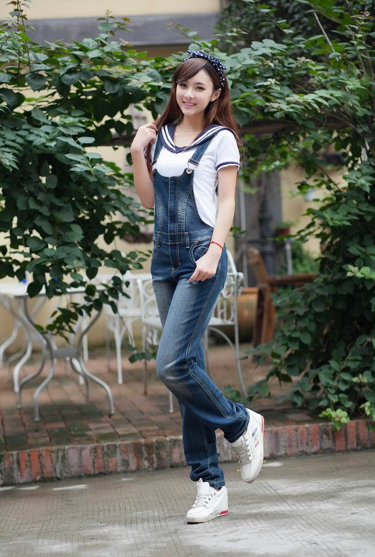 Free shipping denim overalls women new Slim strap cowboy cute suspenders trousers big code-G258