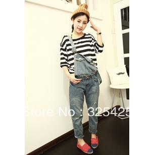 Free shipping disassemblability denim rompers 2013 loose plus size suspenders jeans bib pants for women dualwear light color