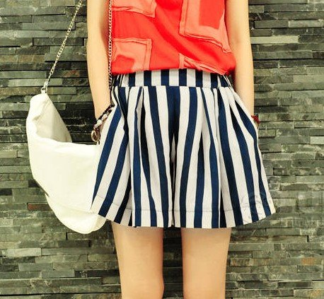 Free shipping Divided skirts, shorts, blue and white striped chiffon fashion # 8903