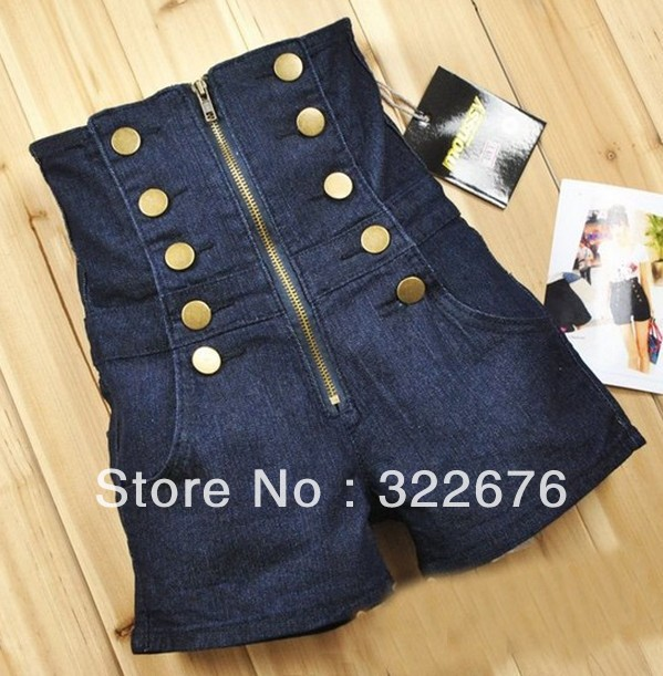 Free Shipping Double Breasted Zipper High Waist Shorts Deep Blue MZ11042317