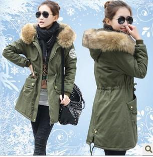 Free Shipping Dropshipping  New Winter Women's Fleece Parka Warm Coat Hoodie Overcoat Long Jacket Army Green