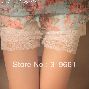 free shipping east ou women's Lace  patchwork plus size safety short Three layers of lace Wholesale and retail