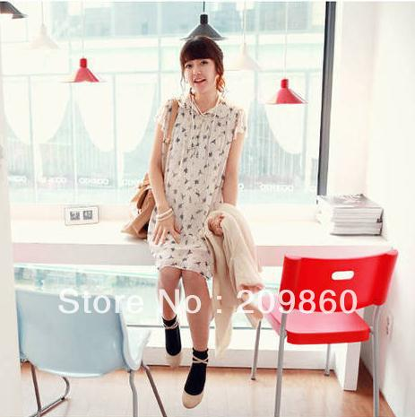 Free shipping ! Elegant ballet of new pregnant women dress Korean short-sleeved chiffon dress 8920
