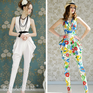 Free Shipping elegant sexy womens pleated high waist vest pants/ chic jumpsuits rompers 10078