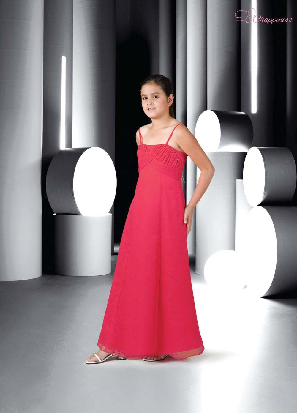 Free Shipping Empire Spaghetti Strap Floor Length Chiffon Communion Dress 201211082031