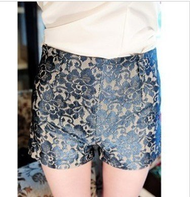Free Shipping Europe and the United States complex Gulei Si flowers waist Slim shorts   D95-524-35-240